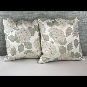 Two silk floral, down throw pillows